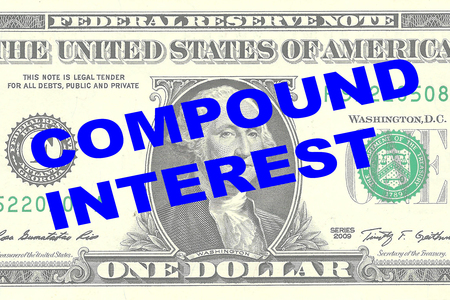Render illustration of COMPOUND INTEREST title on One Dollar bill as a background Stock Photo