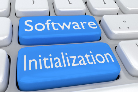 2 つの隣接する淡い青色のボタン上のスクリプト「ソフトウェア初期化」にコンピューターのキーボードの 3 d イラストレーション