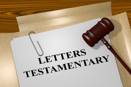 signing papers: 3D illustration of LETTERS TESTAMENTARY title on legal document Stock Photo