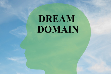 spiritual energy: Render illustration of DREAM DOMAIN script on head silhouette, with cloudy sky as a background.