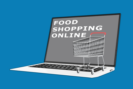 fast money: 3D illustration of FOOD SHOPPING ONLINE script with a supermarket cart placed on the keyboard