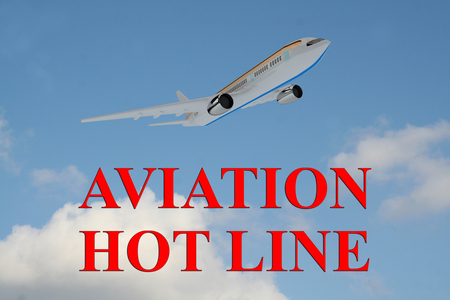 3D illustration of AVIATION HOT LINE title on cloudy sky as a background, under an airplane which is taking off. Stock Photo