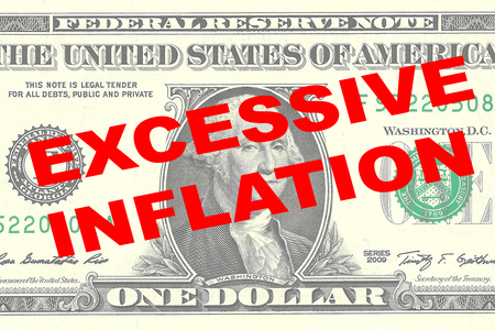careless: Render illustration of EXCESSIVE INFLATION title on One Dollar bill as a background Stock Photo