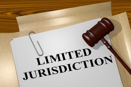 3D illustration of LIMITED JURISDICTION title on legal document