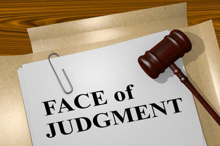 accuse: 3D illustration of FACE of JUDGMENT title on legal document