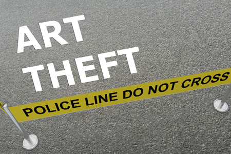 loot: 3D illustration of ART THEFT title on the ground in a police arena Stock Photo
