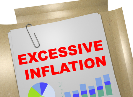 3D illustration of EXCESSIVE INFLATION title on business document Stock Photo