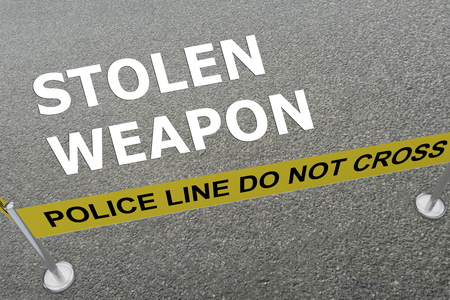 3D illustration of STOLEN WEAPON title on the ground in a police arena