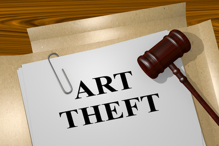 looting: 3D illustration of ART THEFT title on legal document