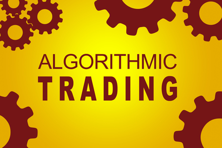 initial: ALGORITHMIC TRADING sign concept illustration with red gear wheel figures on yellow background