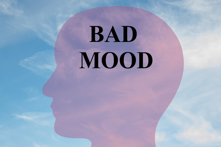 suffer: Render illustration of BAD MOOD title on head silhouette, with cloudy sky as a background.