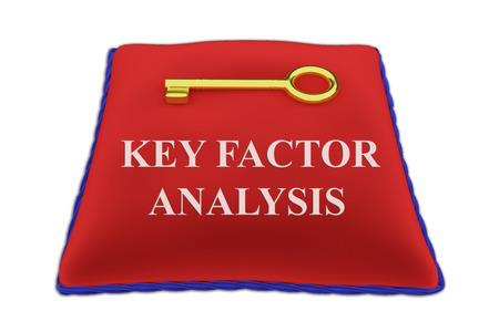 3D illustration of KEY FACTOR ANALYSIS Title on red velvet pillow near a golden key, isolated on white. Stock Photo
