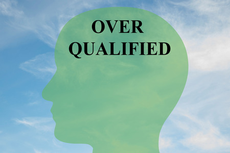 Render illustration of OVER QUALIFIED script on head silhouette, with cloudy sky as a background. Stock Photo