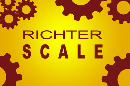 seismograph: RICHTER SCALE sign concept illustration with red gear wheel figures on yellow background