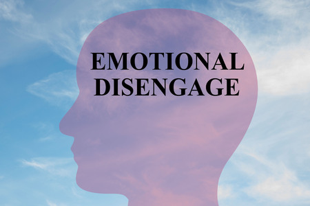 disengage: Render illustration of EMOTIONAL DISENGAGE title on head silhouette, with cloudy sky as a background.