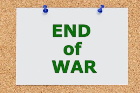 3D illustration of END of WAR on cork board