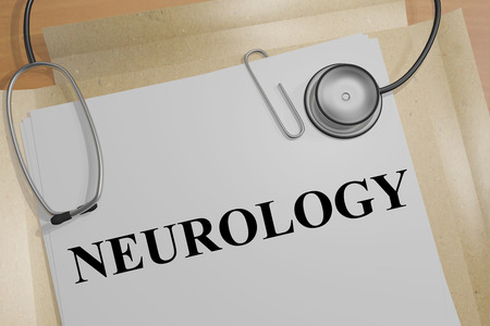 3D illustration of NEUROLOGY title on a medical document