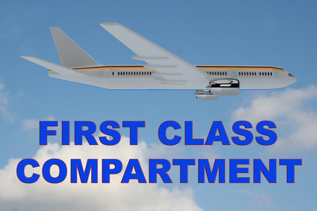 3D illustration of FIRST CLASS COMPARTMENT title on cloudy sky as a background, under an airplane. Stock Photo