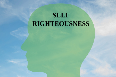 hypocritical: Render illustration of SELF RIGHTEOUSNESS script on head silhouette, with cloudy sky as a background.