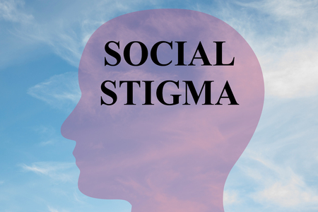 Render illustration of SOCIAL STIGMA title on head silhouette, with cloudy sky as a background.