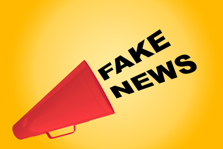 3D illustration of FAKE NEWS title flowing from a loudspeaker