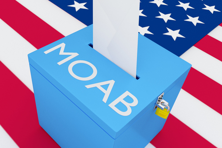 3D illustration of MOAB script on a ballot box, with US flag as a background. Stock Photo