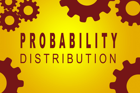 probability: PROBABILITY DISTRIBUTION sign concept illustration with red gear wheel figures on yellow background Stock Photo
