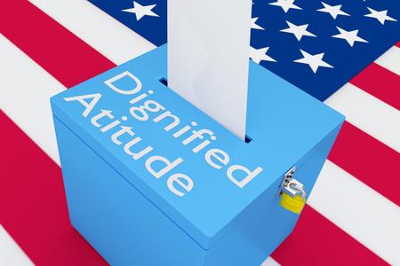 """미국 국기를 배경으로 한 투표 상자에 """"위엄있는 태도""""스크립트의 3D 일러스트."""