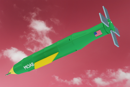 3D Render Illustration of Flying  MOAB - Massive Ordnance Air Blast known also as Mother Of All Bombs the most powerful non-nuclear weapon used against ISIS Stock Photo