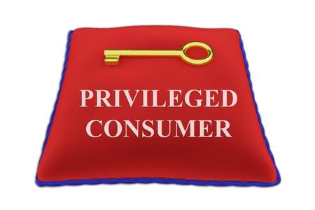 3D illustration of PRIVILEGED CONSUMER Title on red velvet pillow near a golden key, isolated on white. Stock Photo