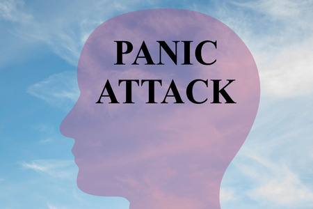 Render illustration of PANIC ATTACK title on head silhouette, with cloudy sky as a background. Stock Photo