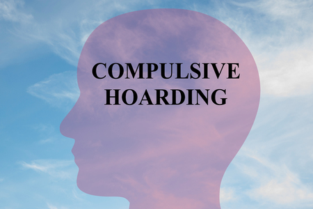 Render illustration of COMPULSIVE HOARDING title on head silhouette, with cloudy sky as a background. Stock Photo