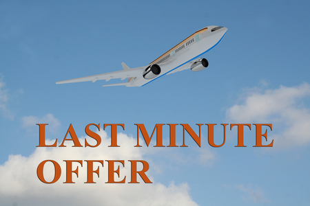 3D illustration of LAST MINUTE OFFER title on cloudy sky as a background, under an airplane which is taking off.