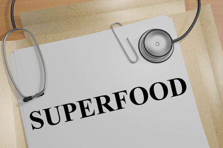 3D illustration of SUPERFOOD title on a medical document Stock Photo