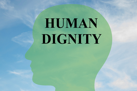 arrepentimiento: Render illustration of HUMAN DIGNITY script on head silhouette, with cloudy sky as a background.