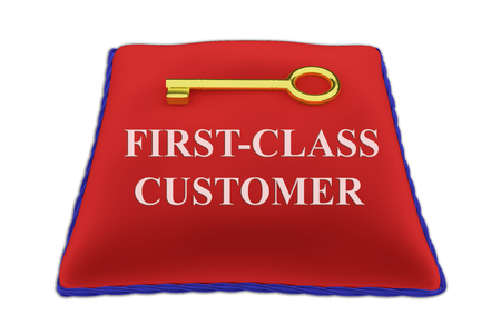 3D illustration of FIRST-CLASS CUSTOMER Title on red velvet pillow near a golden key, isolated on white.