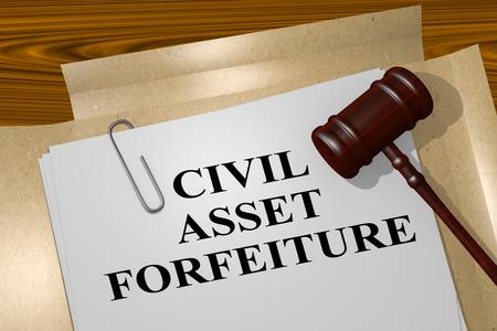 """Illustration 3D du titre """"CIVIL ASSET FORFEITURE"""" sur document légal"""