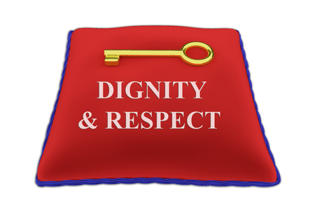 3D illustration of DIGNITY & RESPECT Title on red velvet pillow near a golden key, isolated on white.