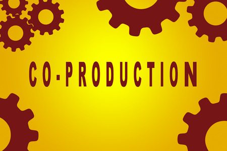 biologist: CO-PRODUCTION sign concept illustration with red gear wheel figures on yellow background