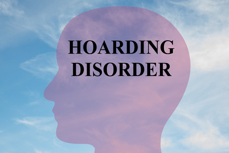 possession: Render illustration of HOARDING DISORDER title on head silhouette, with cloudy sky as a background. Stock Photo