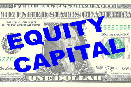 equities: Render illustration of EQUITY CAPITAL title on One Dollar bill as a background Stock Photo