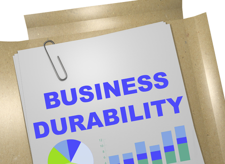 3D illustration of BUSINESS DURABILITY title on business document