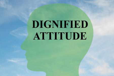 """흐린 하늘을 배경으로 머리 실루엣에 """"DIGNIFIED ATTITUDE""""스크립트의 그림을 렌더링하십시오."""