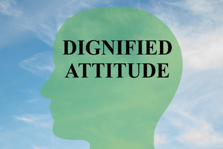 self worth: Render illustration of DIGNIFIED ATTITUDE script on head silhouette, with cloudy sky as a background.
