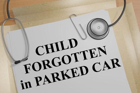 医療文書の「子忘れて駐車して車の」タイトルの 3 D イラストレーション 写真素材