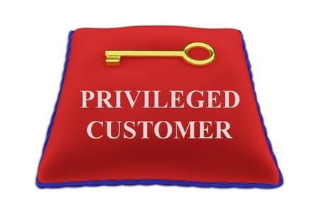 3D illustration of PRIVILEGED CUSTOMER Title on red velvet pillow near a golden key, isolated on white. Stock Photo