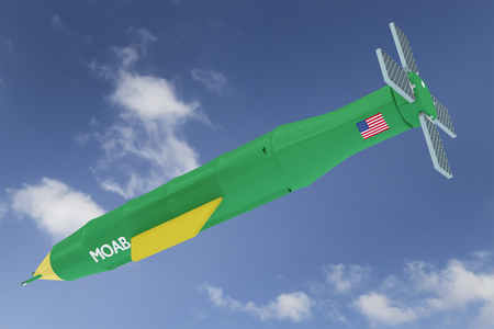 3D Render Illustration of Flying MOAB - Massive Ordnance Air Blast known also as Mother Of All Bombsthe most powerful non-nuclear weapon used against ISIS Stock Photo