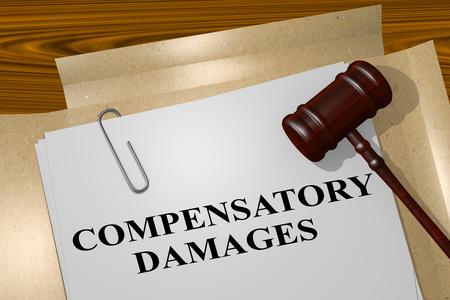 compensatory: 3D illustration of COMPENSATORY DAMAGES title on legal document Stock Photo