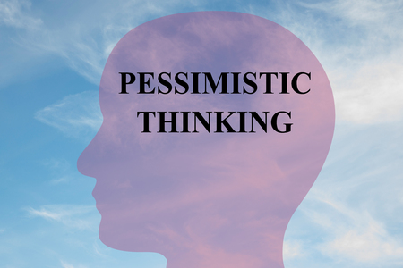 Render illustration of PESSIMISTIC THINKING title on head silhouette, with cloudy sky as a background. Stock Photo