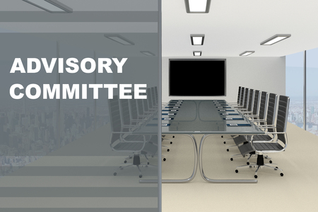 3D illustration of CADVISORY COMMITTEE title on a glass compartment Stock Photo